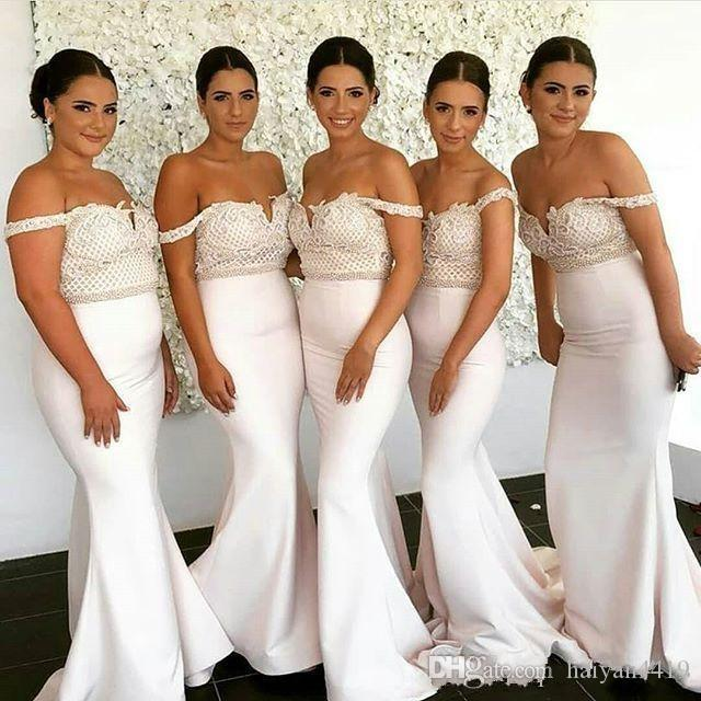 70496d76bbe 2018 Long Mermaid Bridesmaid Dresses Off Shoulder Lace Appliques Country  Sweep Train Satin Wedding Guest Dress Plus Size Maid Of Honor Gowns Cerise  Pink ...