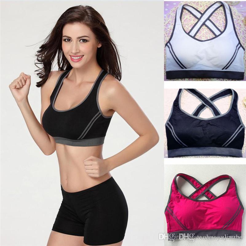 b669e27a8501f Women Fitness Bra Padded Compression Sport Bra Top Sportswear Quick ...