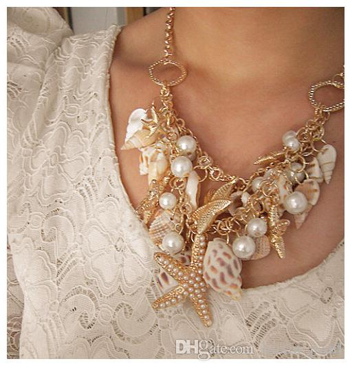 Wholesal New Fashion Beach Wind Shell Conch Star Pendant Necklace Moonlight Gemstone Ocean Element Necklace For Women Jewelry Accessorie
