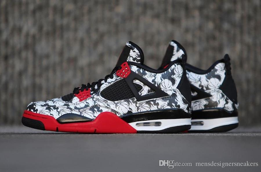 31d4d0781a0c3d 2018 New Release 4 Tattoo Black White Red 4s Men Shoes Sneakers