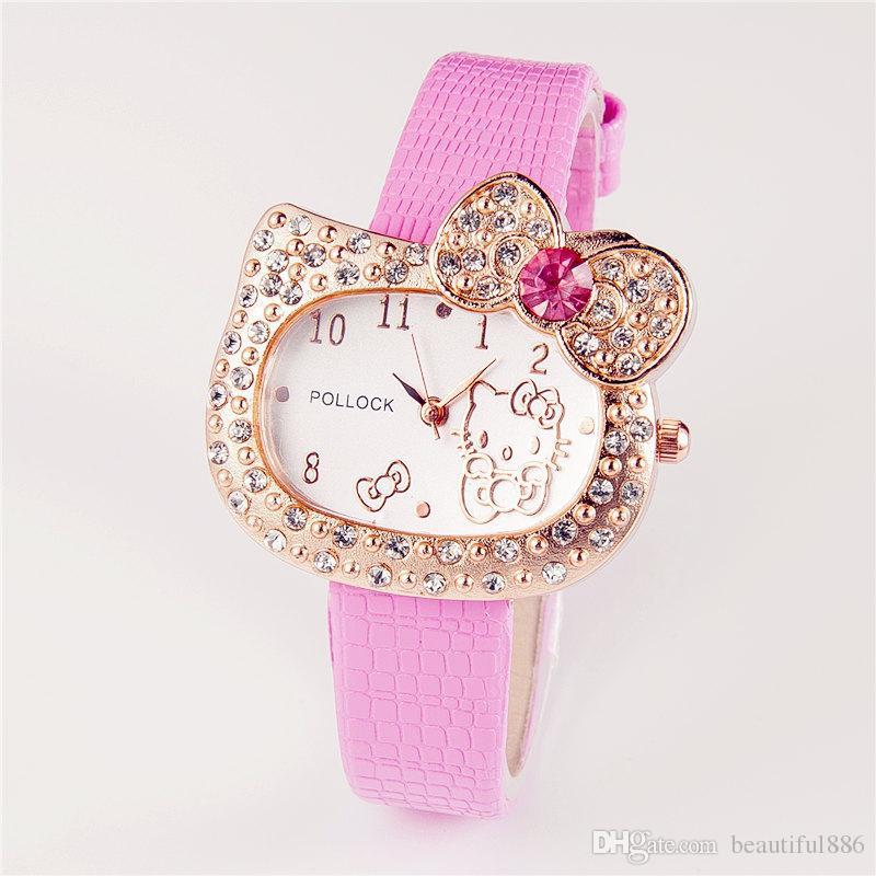 2860a60d7 Hot Sales Cartoon Watch Hello Kitty Watch Children Girl Student Women Full  Crystal Dress Quartz Lady Wristwatch Cute Watch Watch Deals Designer Watch  From ...