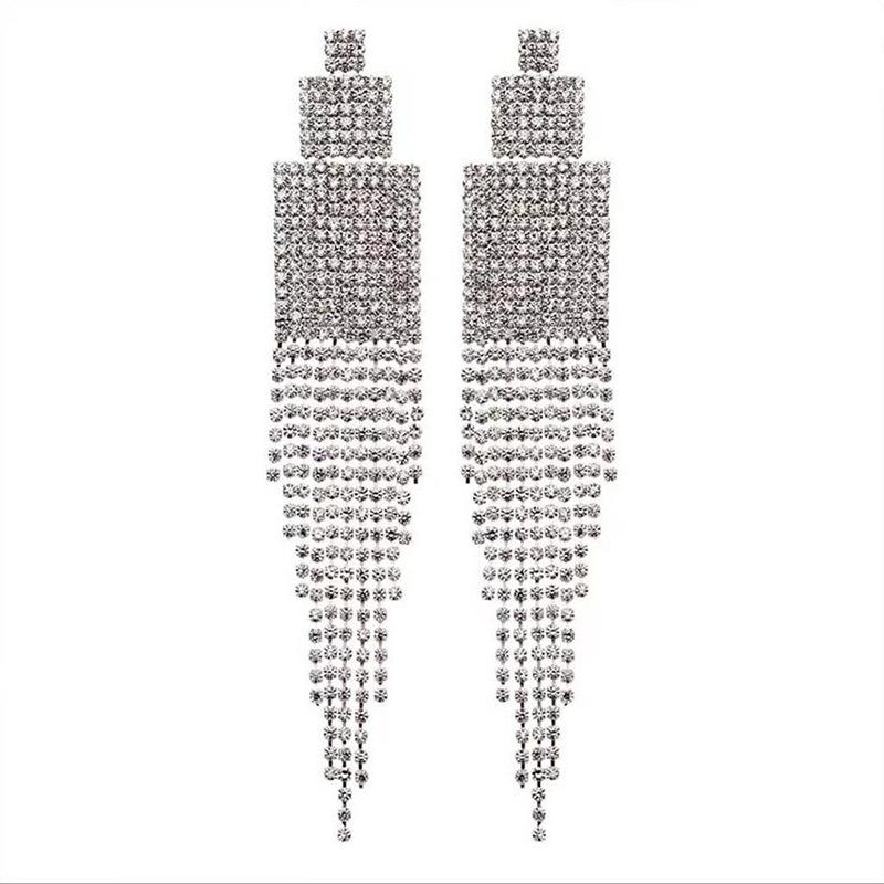 e21f5bb51 2019 Luxury Clear Rhinestone Diamante Drop Earrings Crystal Square Long  Tassel Earrings Big Dangle For Women From Greenparty, $36.37 | DHgate.Com