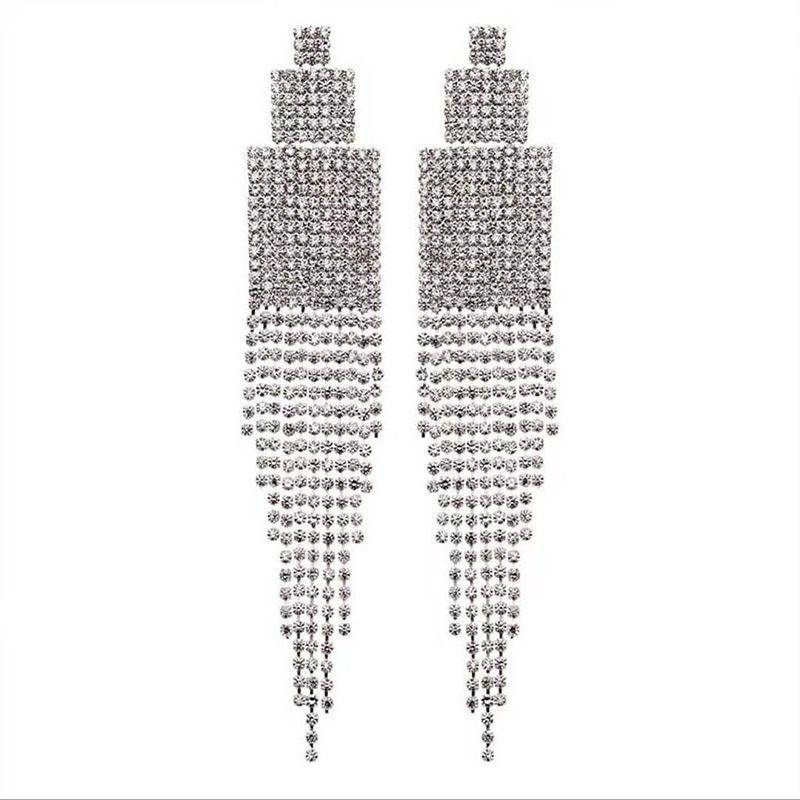 831049101706c0 2019 Luxury Clear Rhinestone Diamante Drop Earrings Crystal Square Long  Tassel Earrings Big Dangle For Women From Greenparty, $36.37 | DHgate.Com