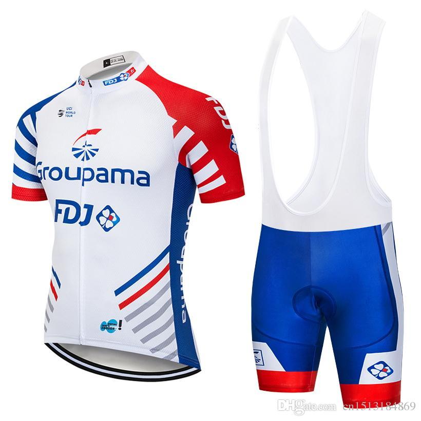 UCI 2018 Pro Team FDJ Short Sleeve Cycling Jersey Bib Shorts Kit ... 5dd92a471