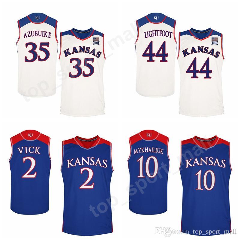 83be32f63 2019 College 2 Lagerald Vick Jersey Kansas Jayhawks Basketball 10  Sviatoslav Mykhailiuk 0 Marcus Garrett Jerseys Blue White Team 14 Malik  Newman From ...