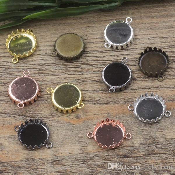Fit 15MM Round metal stamping jewelry pendant blank base, silver rose gold cameo cabochon setting bezel tray gun black antique bronze diy