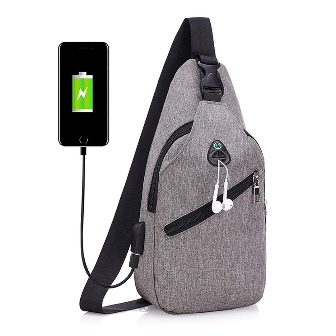 c67a42a625db Sling Bag with USB Charging Port & Headphone Hole Smart Crossbody Bag  College School Chest Casual Daypack Travel Shoulder