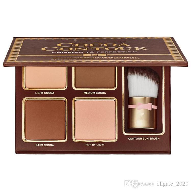 COCOA Contour Kit es Bronzers Highlighters Powder Palette Desnudo Color Shimmer Stick Cosmetics Chocolate Sombra de ojos con pincel