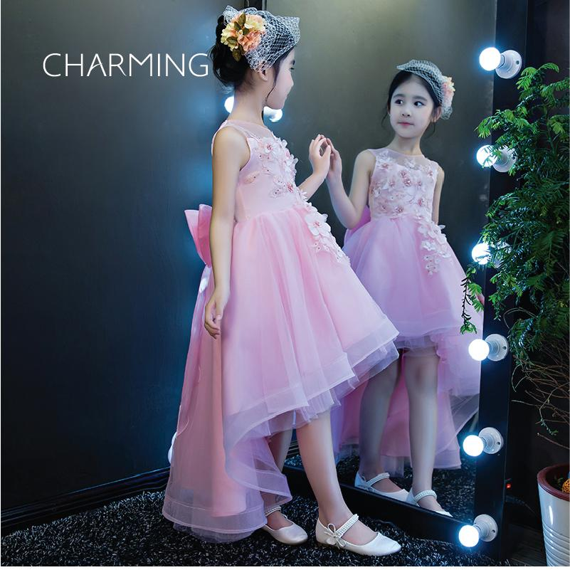 High Low Wedding Dresses Pink Girl 3d Floral Wedding Dress Tulle ...