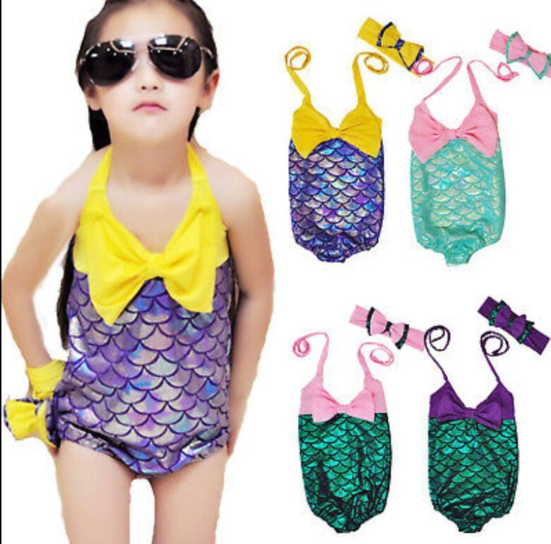 6489f76afcef4 2019 Mermaid Girl Swimsuit Kids Mermaid Bikini Baby Fish Scale Swimwear Bow  Headwear Swimwear Headband Bathing Suits Swim Clothes KKA573 From  Kids_dress, ...