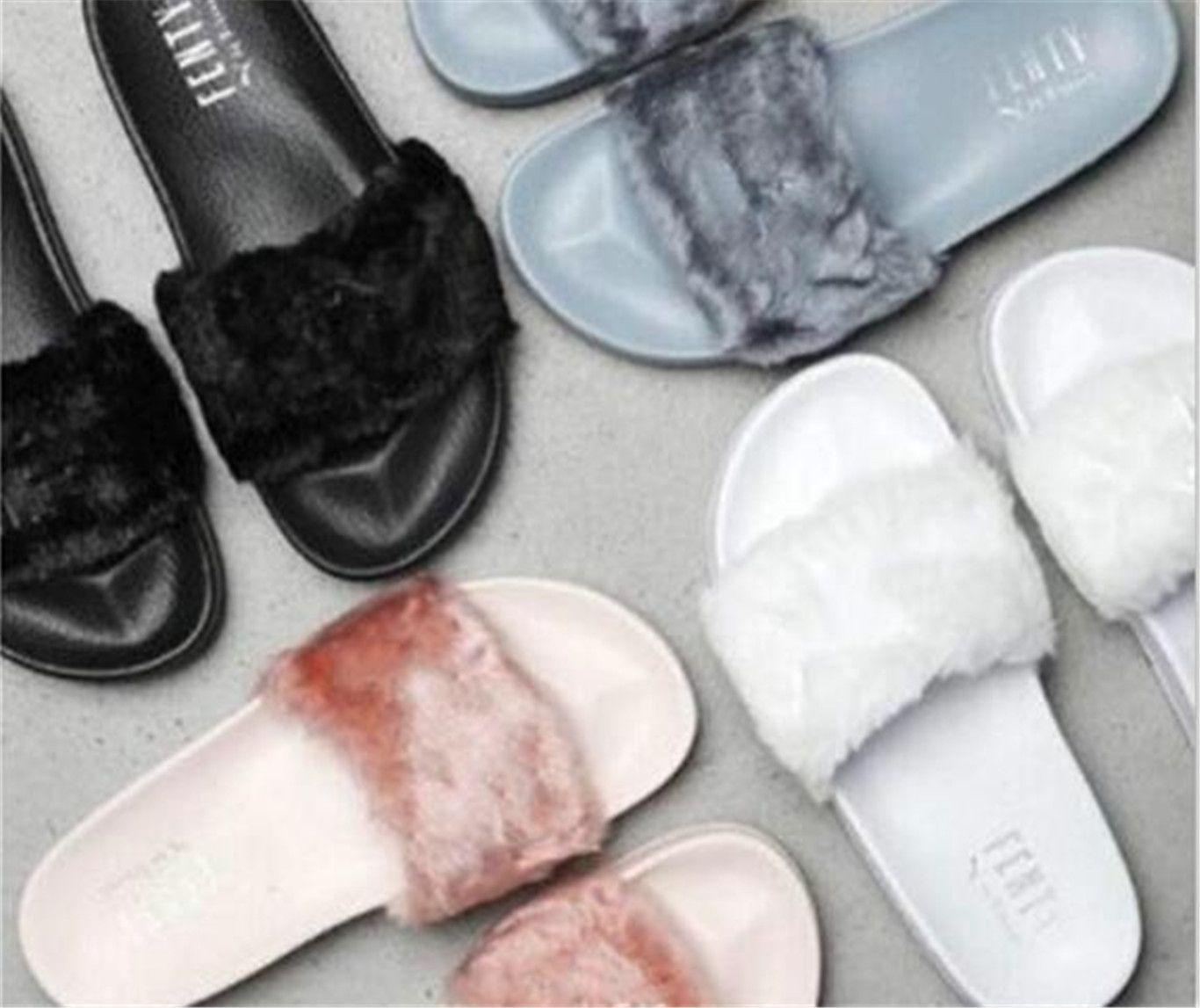 2018 Hot Rihanna Leadcat Fenty Faux Fur Slide Sandal be5e47be8