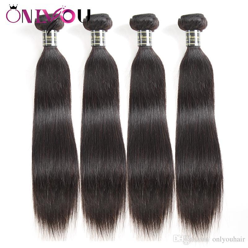 8A Brésiliens Raides Cheveux Vierges 4 faisceaux Remy Humain Tressage Extensions de Cheveux Vison Faisceaux de Cheveux Brésiliens Bundles Raw Indien Péruvien Trames Humaines