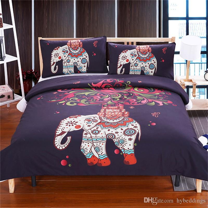Großhandel 3d Bohemian Afrika Elefant Bettwäsche Set Aquarell Druck