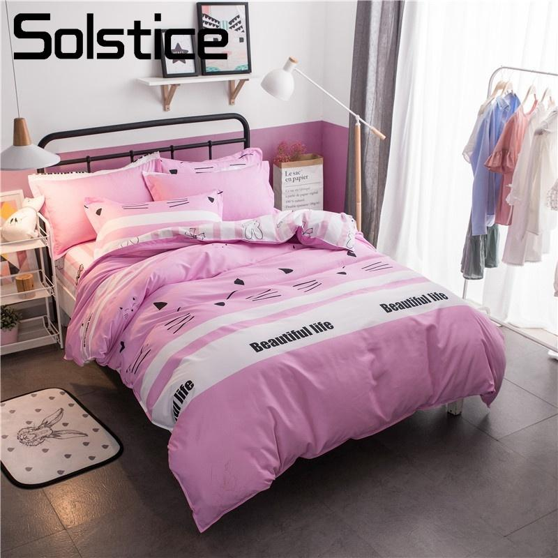 Solstice Home Textile Bunny Pink Duvet Cover Pillowcase Bed Sheet Girls Kid Teen  Bedding Set Queen Full Single Linens Bedclothes Queen Comforter Cover Cheap  ...