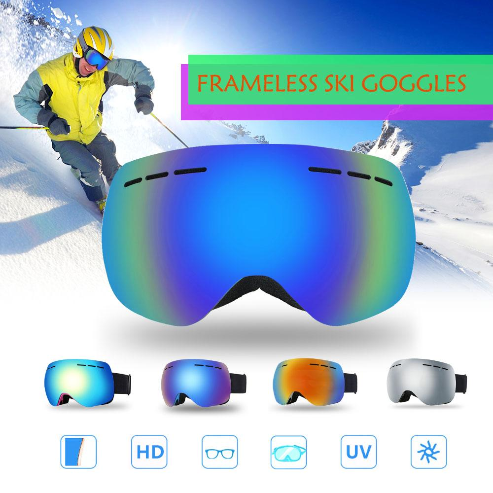 d32b3426b18a 2019 2018 Men Women Ski Goggles Anti Fog UV400 Dual Lens Frameless Ski Mask Glasses  Eyewear Winter Skiing Skating Snowboard Goggles From Fwuyun