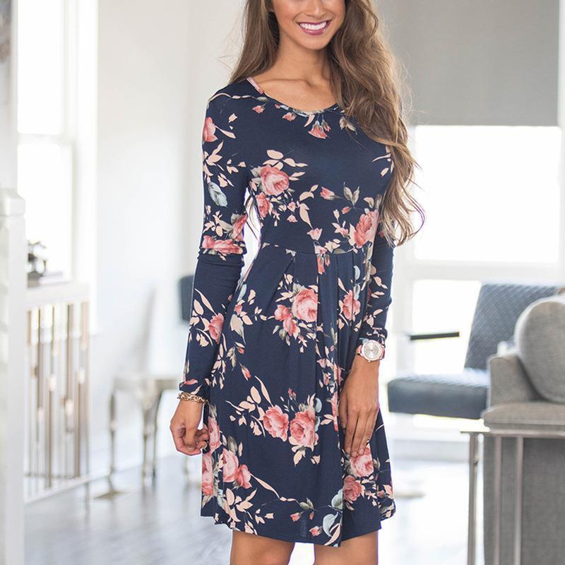 fe60f8a8c Compre Nueva Moda 2019 Vestidos De Otoño O Cuello De Manga Larga Estampado  Floral Barato Mujer Ropa Vestido De Oficina Mujer Vestidos WS1682Y A  31.17  Del ...