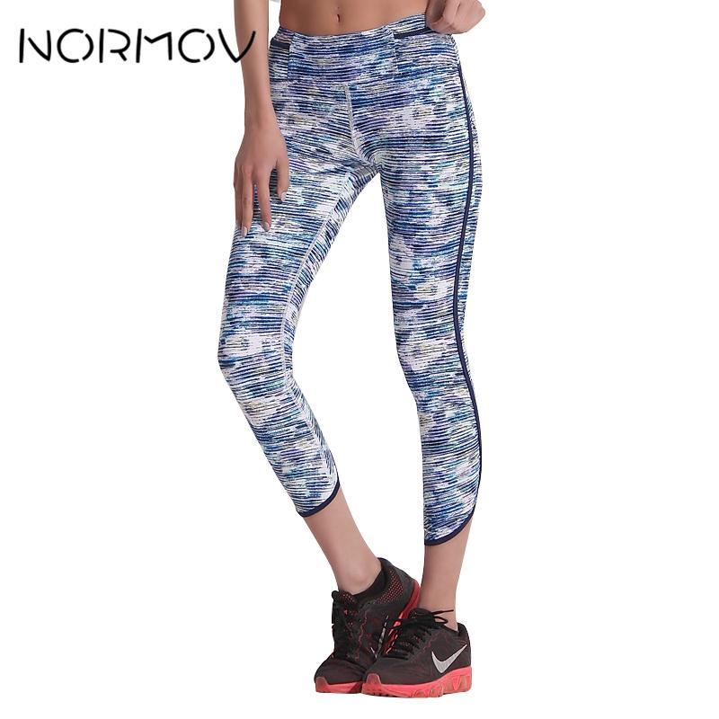 d3e2f63825b81 NORMOV Digital Printed Yoga Pants Tights Women Pocket High Waist ...