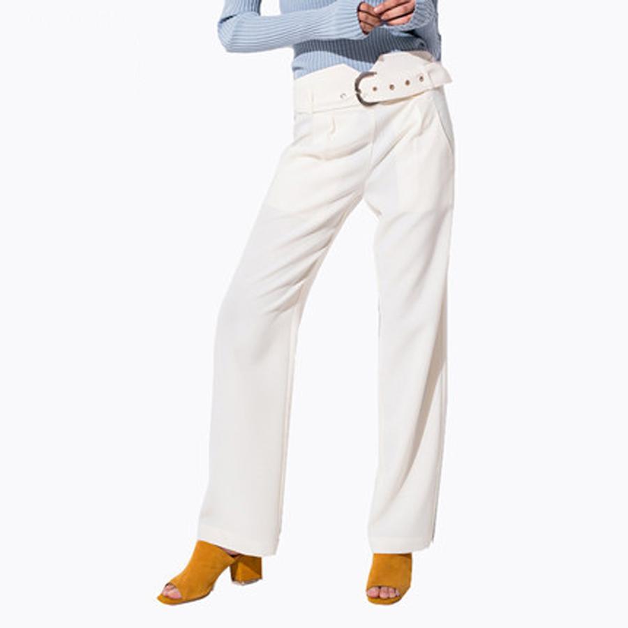 Acquista Fasciatura A Vita Alta Pantaloni Bianchi Donna Stretch