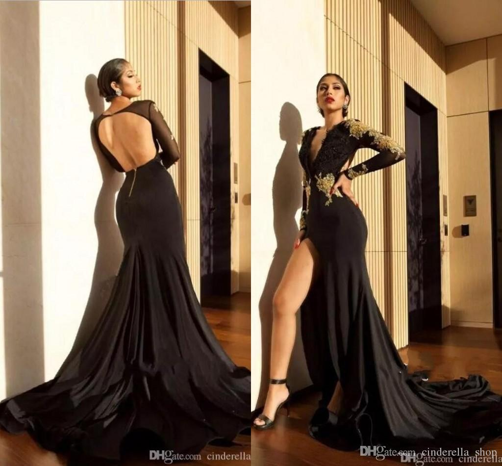 44386eb976149 Sexy Black High Slit Mermaid Evening Dresses 2018 With Gold Appliques Long  Sleeve Deep V Neck Backless Long Formal Prom Party Gowns Arabic