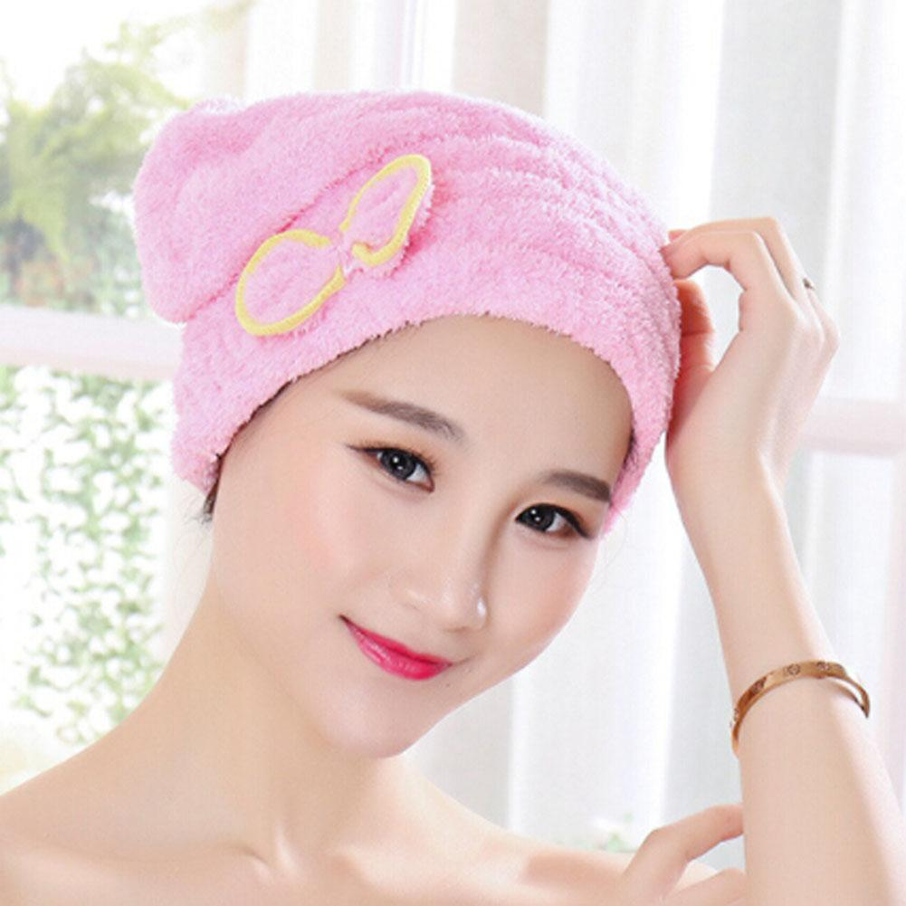 9f980c7ab7f Microfiber Quick Drying Hair Drying Towel Bowknot Bath Cap Strong Water  Absorption Hair Dry Shower Bath Hats With Coral Velvet Towel Set Face Towel  From ...