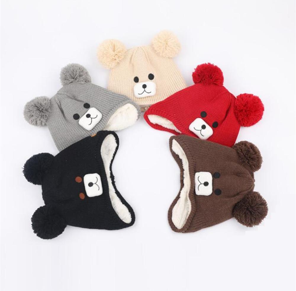 2f49239a590 2019 Yyun Two Pom Poms Kids Winter Warm Fleece Hat