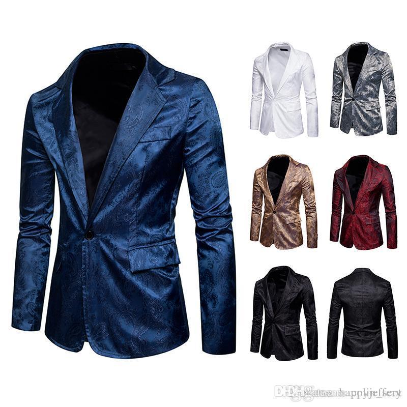 d0b8a6644 2018 Mens Blazer Jacket Men Suit Floral Casual Male Blazer New ...