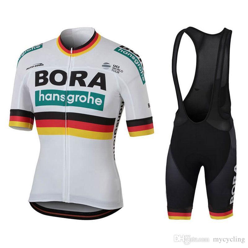 c09215ece Satın Al 2018 Uci Pro Takımı Bora Dünya Şampiyonu Beyaz Bisiklet Jersey  Kitleri MTB Ropa Ciclismo Bisiklet Maillot Jel Ped Mens Yaz Bisiklet Giyim  82210Y