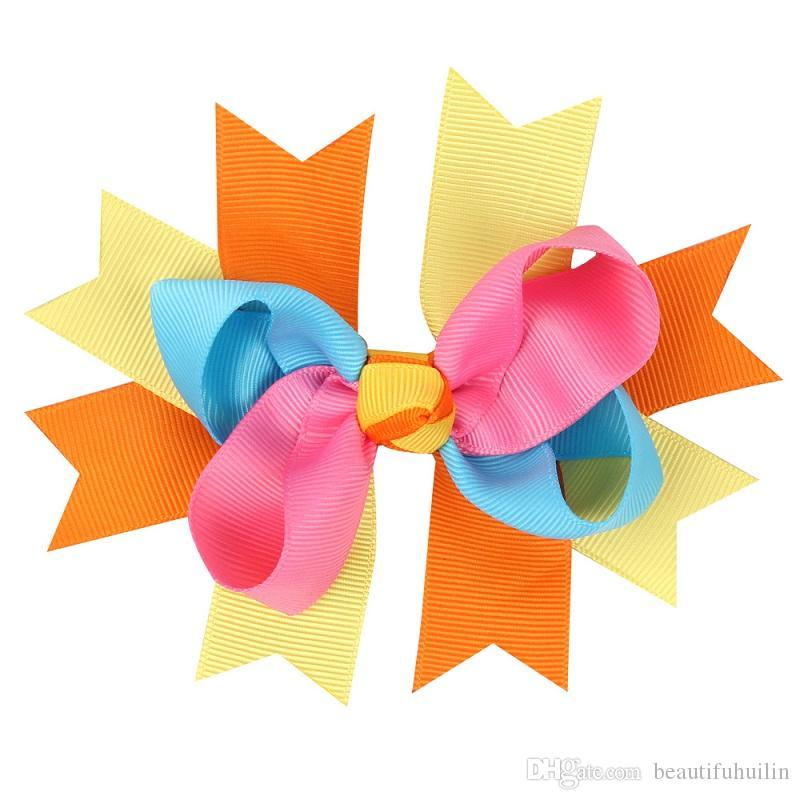 12CM Children Colorful Ribbon Twisted Bows Hairpin Baby Girls Handmade Boutique Bowknot Hair Clip Hair Bow Beautiful HuiLin DW118
