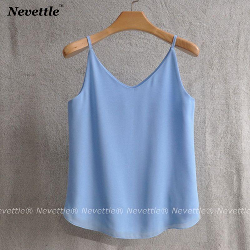 c07ecdc1a55155 2019 Nevele Women Double Layer Chiffon Strap Tank Tops Camis Women V Neck  Summer Loose Casual T Shirt From Tielian