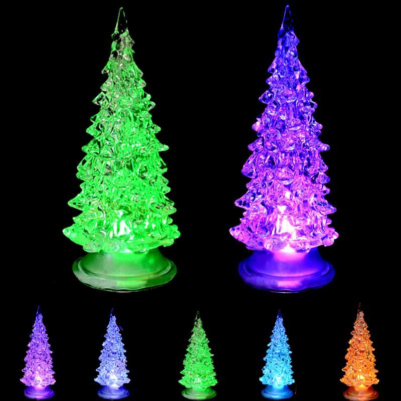 Merry Christ mas New 19cm Christmas Flashing Light Christmas Tree Light Glitter Home Party Xmas Decoration