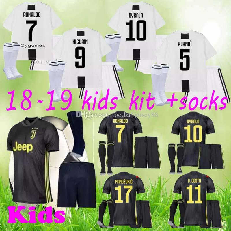 new styles 613a5 77baa RONALDO JUVENTUS Soccer Jersey Kids Kits 18 19 7 JUVE CR7 9 Higuain 10  Dybala 11 Costa 17 Football Shirt uniforms