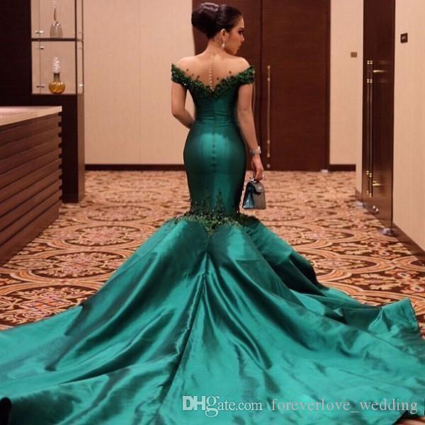 Turquesa Verde Fora Do Ombro Vestido de Baile 2018 Sereia Rendas Apliques Trompete Trem Tribunal Satin Evening Vestidos Formais Veasido de Fiesta Personalizado