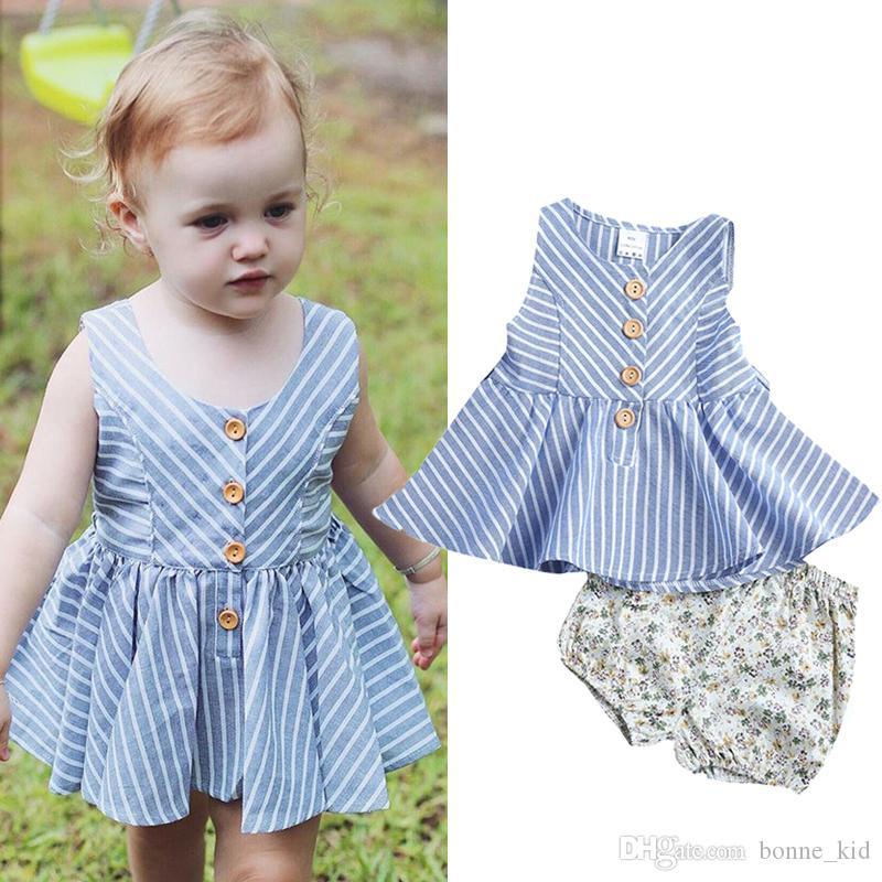 99ab8df45 2019 Fashion Kids Baby Girls Clothes Toddler Clothing Striped Tops + ...