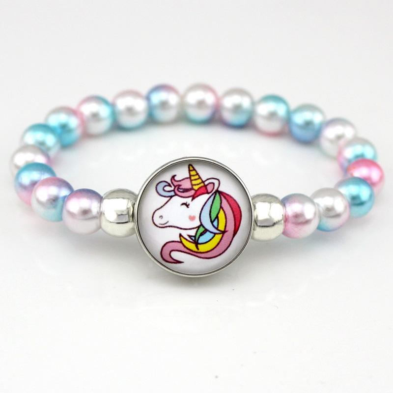 Unicorn Beads Bracelets 18mm Snap Holder Buttons Dome Cabochon Flamingos Charms Trendy Jewelry Girls Women Boy Unisex Gift