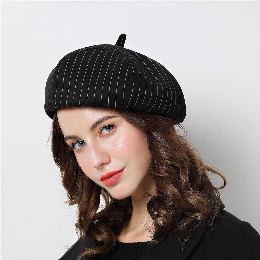 Women Black Beret Vogue Hat For Winter Female Stripe Cotton Cap Grey ... 321c95b51e