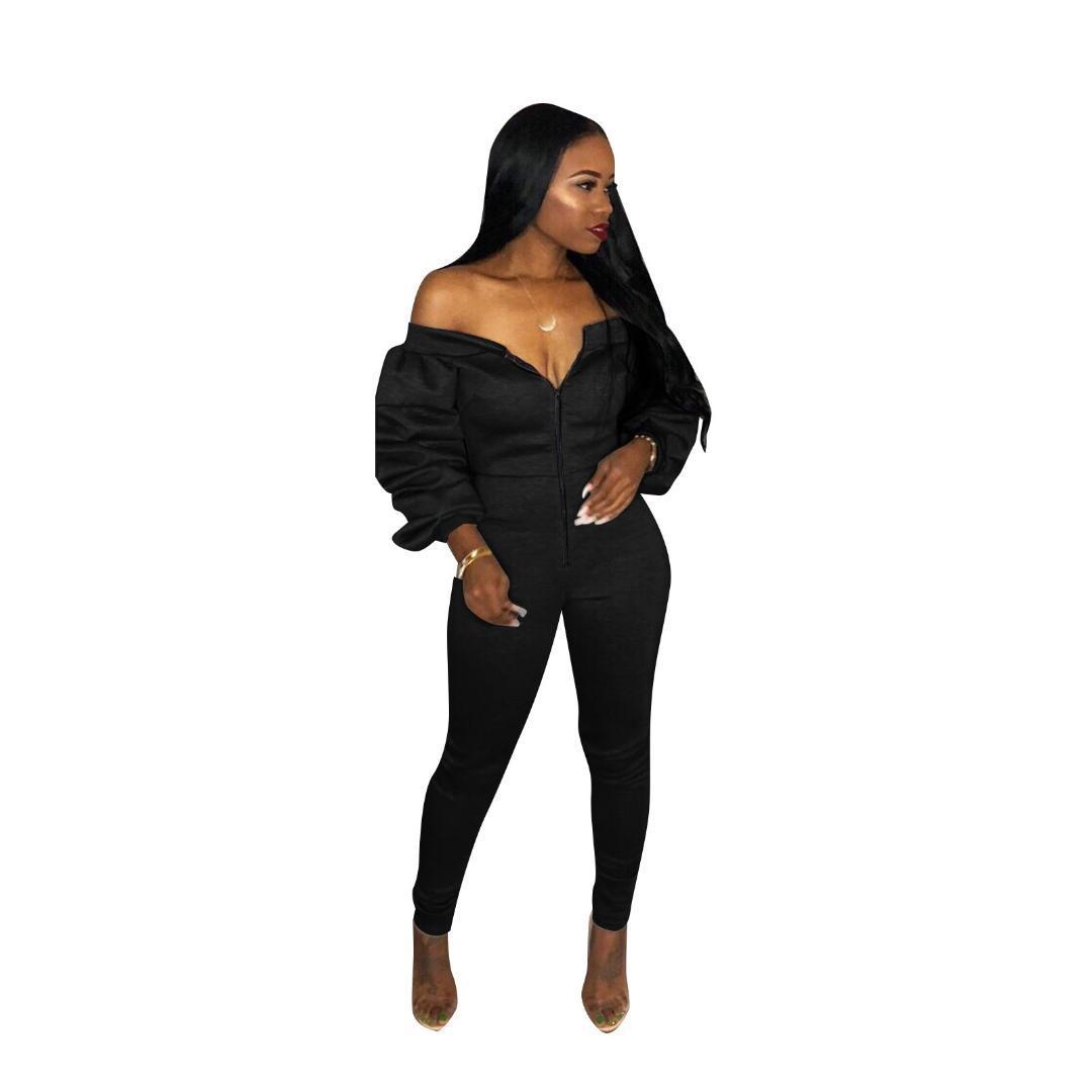 Compre Mono Para Mujer Negro Sexy Fuera Del Hombro Mono De Las Mujeres Monos  Atractivos Club Party Jumpsuits Skinny Zipper Fall Solid Rompers A  38.2  Del ... 04bf958a2d65