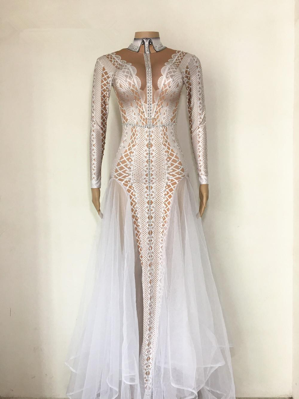 aeb8f9811cda 2019 Sexy Sparkly Stone Dress Women Summer Party Costume Stage Performance Wear  Dance Singer Rhinestones Ladies Long Dresses From Clothingdh, ...