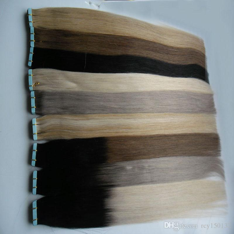 Fita em extensões de cabelo humano 100g fita extensão de cabelo humano reta cabelo brasileiro de trama de pele