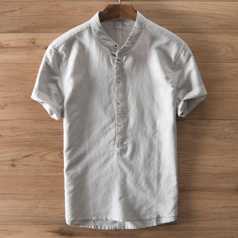 e9547005a0a Amazon Essentials Men s Regular Fit Long Sleeve Linen Shirt light blue  Small Source · 2019 Cotton Linen Men Shirt New 2017 Stand Collar Casual  Male Shirt