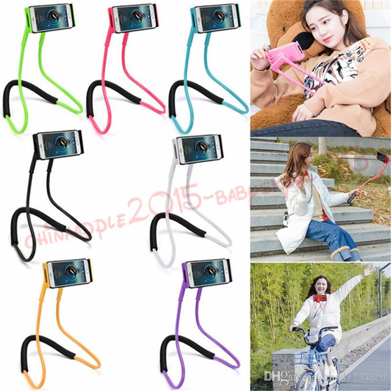 60cm long arm Hand free smart phone holder Neck hong handfree Cellphone Mounts Selfie Stick lazy man phone Stand tool