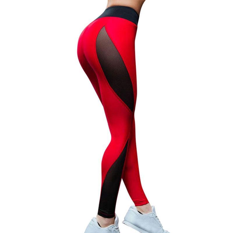 0c28c287ae3 Compre Mallas De Fitness De Malla De Alta Calidad Para Las Mujeres Leggins  De Entrenamiento Deportivo Leggins Pantalones Elásticos Delgadas Polainas  De ...
