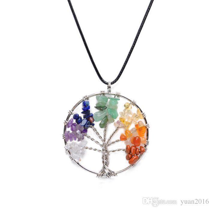 Árvore de alta qualidade da vida pingente colares multicolor chakra pedra natural jóias mulheres colar de coração de cristal presente da jóia da moda