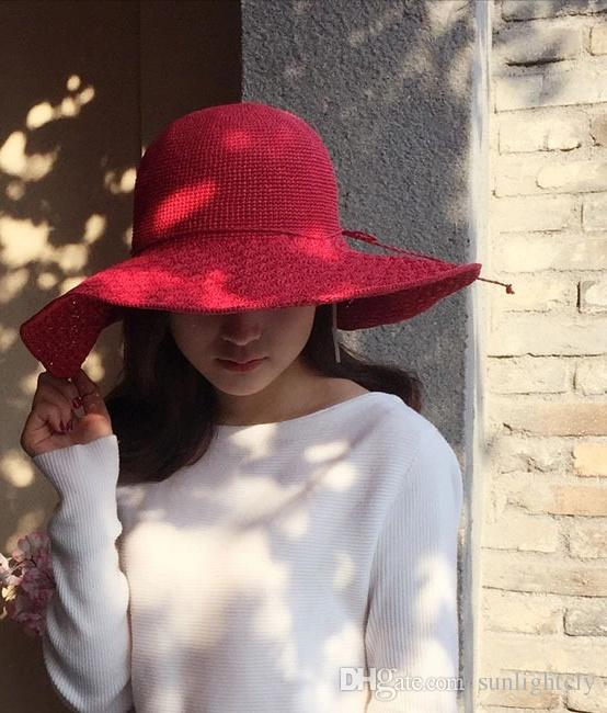 New Style Spring And Summer 2018 Large Eaves Raffia Straw Weaving Korean  Version Of Women S Vacation Outdoor Shade Beach Can Be Folded Cool Mens Hat  Sunhat ... ddde52a0644