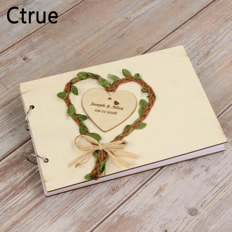 414aedb21369 2019 Personalised Heart Wreath Wedding Guest Book Rustic Wedding Gift For  Couples Custom Engraved Vintage Wedding Wooden GuestBook From Youerwedding