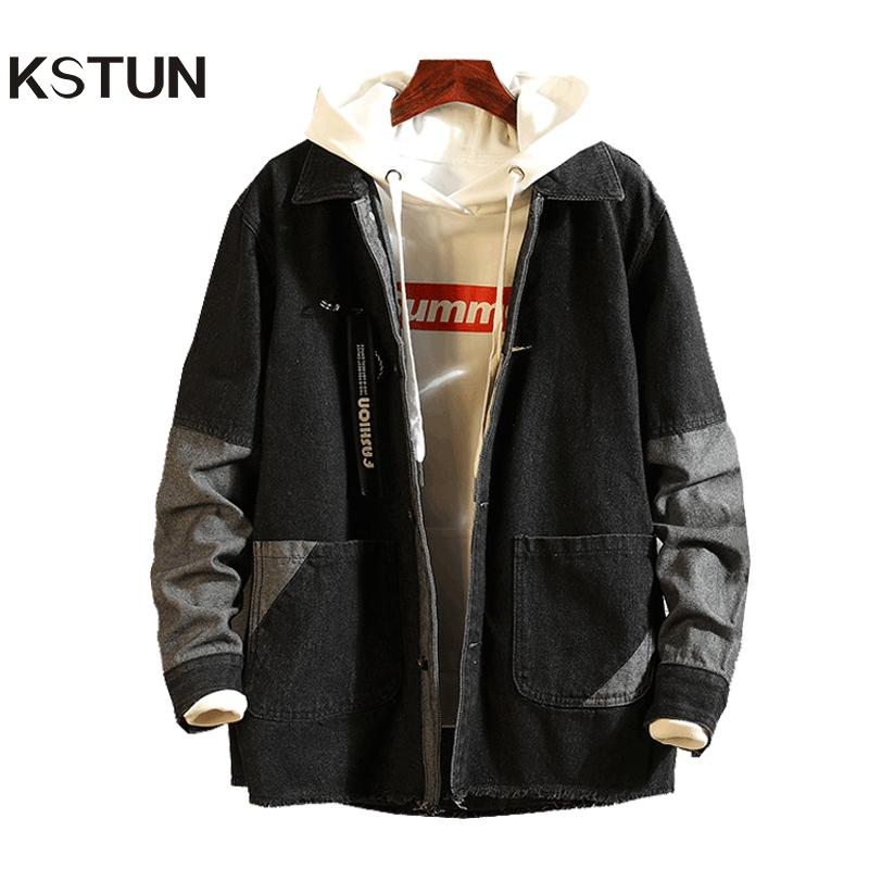 6b28c8a4076 KSTUN Mens Jackets And Coats Black Clothes Patched Streetwear ...