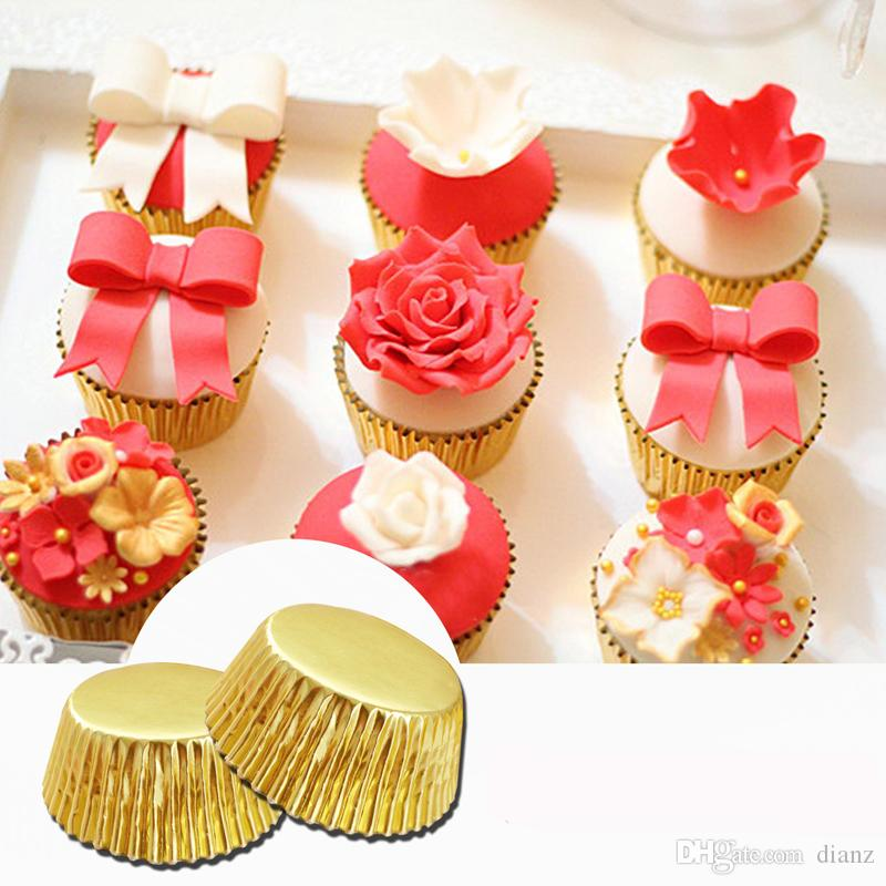HOT SELL Mini gold silver foil cupcake cases papers muffin liners cake cups baking mould wrapper
