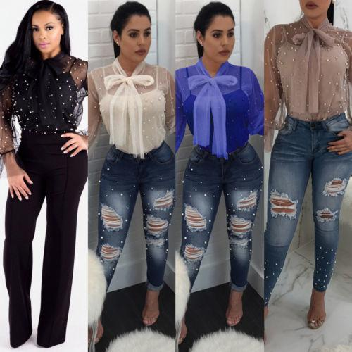 01eb54788984 2019 2018 New Fashion Women Summer Loose Casual Chiffon Pearl Shirts Long  Sleeve Lace See Through Shirt Tops Blouse Plus Size M 2XL From Qinfeng09