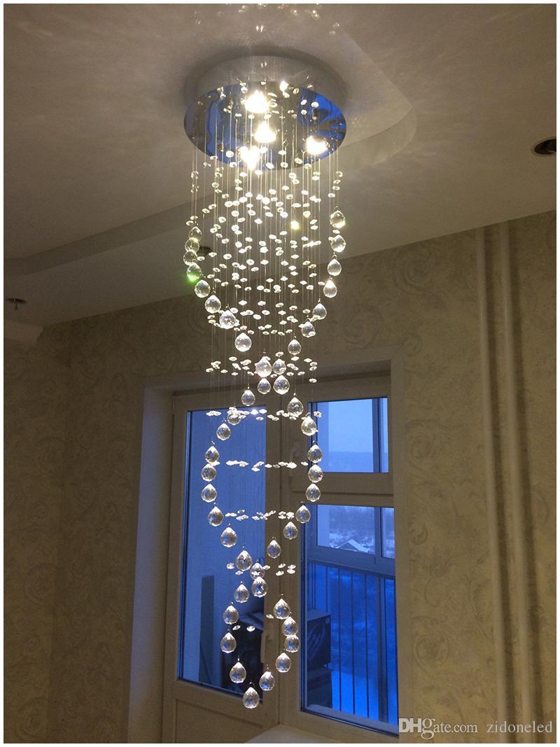 Modern LED K9 Crystal Chandeliers Light Fixture Rain Drop Ceiling Light for Staircase Stair Lights Luxury Hotel Villa Vanity Hanging Lamp