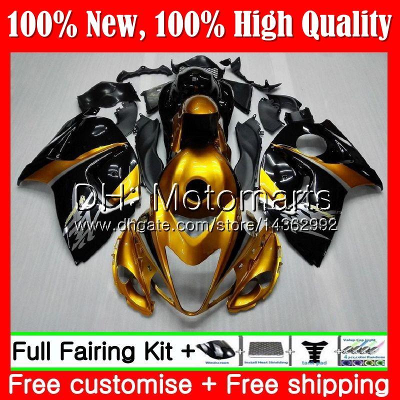 Cuerpo para SUZUKI Hayabusa Gold negro GSXR1300 96 07 1996 1997 1998 56MT24 GSXR 1300 GSXR-1300 GSX R1300 1999 2000 2001 Fairing Bodywork