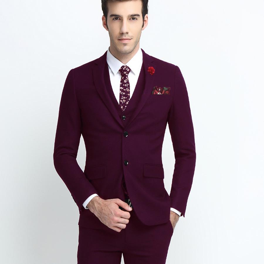 db7311ce7060b Compre Vino Rojo   Negro Elegante Traje De Negocios Informal Slim Fit Para  Hombre Novio Esmoquin Trajes De Boda Traje De Fiesta Trajes 2 Piezas Traje  De ...